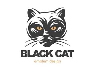 Black cat face logo - vector illustration