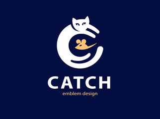 Cat and mouse catch illustration