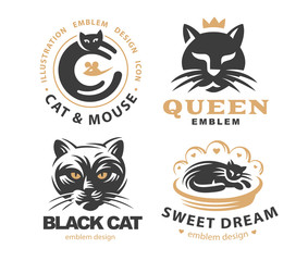 Set logo illustration with cats, emblem design