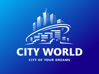 City world logo - vector illustration, emblem design