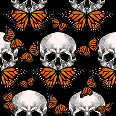 Skull and  beautiful butterfly . Vector seamless pattern
