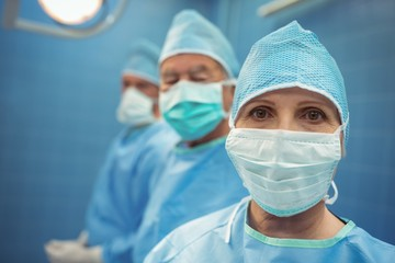 Portrait of female surgeon wearing surgical mask