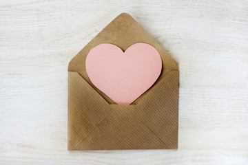 congratulations Happy Valentine's/ heart symbol is visible from an open, paper letter top view