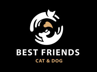 Cat and dog friends emblem, logo