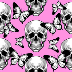 Skull and butterfly. Vector seamless pattern