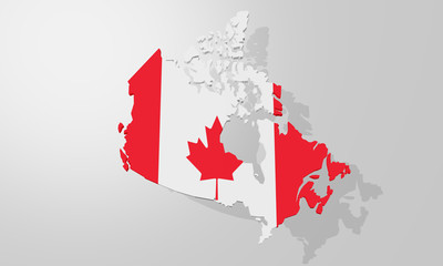 Canada Map as a 3D rendering without text