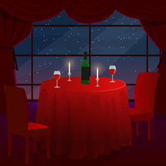 A romantic date in a cafe. A romantic dinner for two. A table with a red cloth. The stars outside the window. Vector illustration.