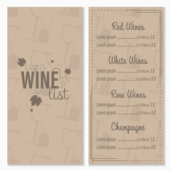 Wine list menu card design template with glasses and bottle of wine in the background.