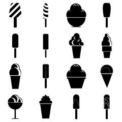 Different ice cream icons set. Simple illustration of 16 different ice cream vector icons for web