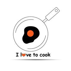 egg breakfast pan food cooking vector meal