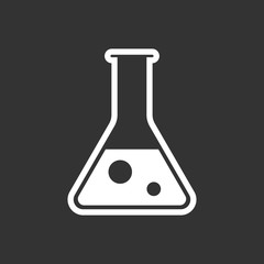 Chemical test tube pictogram icon. Laboratory glassware or beaker equipment isolated on black background. Experiment flasks. Trendy modern vector symbol. Simple flat illustration