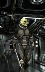 Spaceship corridor and alien soldier