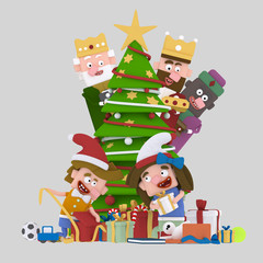 Magic Kings looking children opening gifts EASY COMBINE!  Custom 3d illustration contact me!