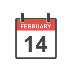 February 14 calendar icon. Vector illustration in flat style. Valentines day on 14th February.
