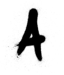 sprayed A font graffiti with leak in black over white
