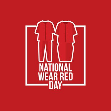 National wear red day vector illustration.
