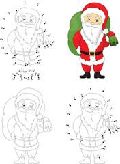 Christmas Santa (St Nicolas). Coloring book and dot to dot game
