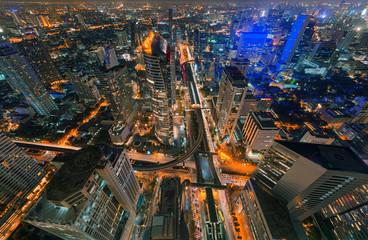 Aluminium Prints Shanghai Skyscrapers and Sathorn Intersection, BTS Chong Nonsi, Bangkok, Thailand