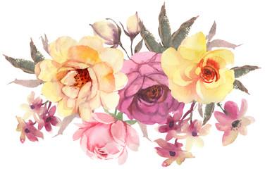 FLower bohemian bouquet. Decorative composition for wedding invi