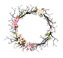 Floral wreath - pink flowers. Watercolor round frame
