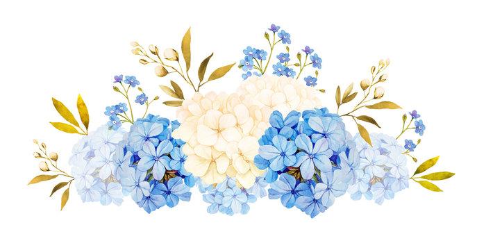 Blue white jadmine, hydrangea, rose flowers wedding watercolor b