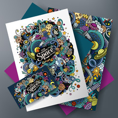 Cartoon cute vector doodles Space corporate identity set