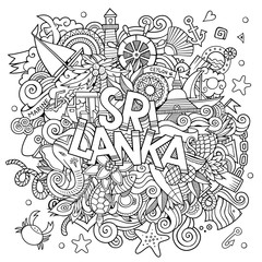 Sri Lanka country hand lettering and doodles elements