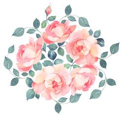 Romantic roses watercolor bouquet illustration