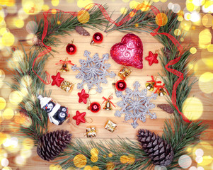 christmas decoration composition on wooden background