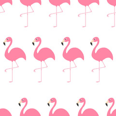 Seamless Pattern Flamingo Exotic tropical bird. Zoo animal collection. Cute cartoon character. Decoration element. White background. Isolated Flat design.