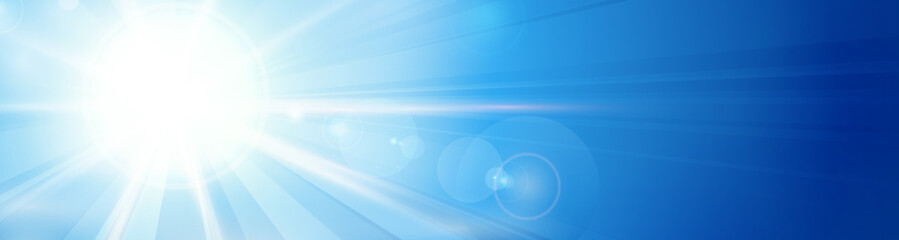Blue sky with sun and lens flare panorama, header, banner