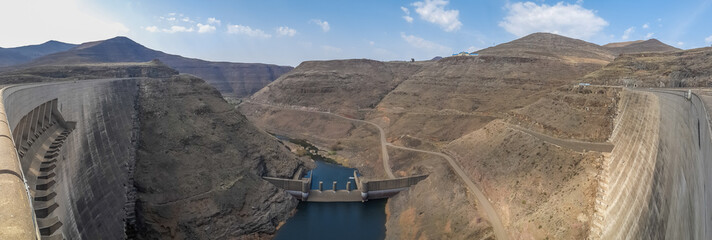 Panorama of hydroelectric Katse Dam power plant in Lesotho, Africa