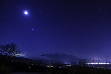 Starry Sky and Mount Fuji from Lake Yamanakako observatory