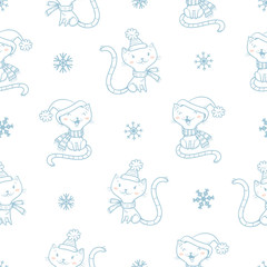 Seamless pattern with cute cartoon cats  in coat and snowflakes on white  background. Winter time. Snowy weather. Funny kittens. Animals  in clothes. Vector contour image. Children's illustration.