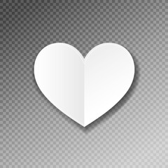 white paper heart shape origami with shadow on transparence back