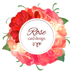 Postcard with a round frame of roses. Vector illustration