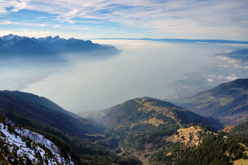View on Lake Geneva and town of Montreux from the top of Rochers-de-Naye mountain