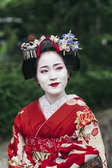 Portrait of  a Maiko geisha in Gion Kyoto