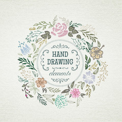 hand-drawing vintage frame