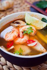 Tom Yum -  traditional prawn Thai  soup.