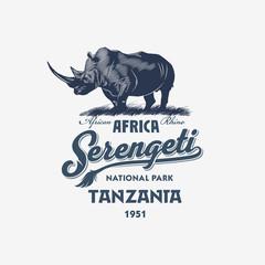 Африканский Носорог, Национальный парк Серенгети, Танзания, в синем цвете, иллюстрация, вектор