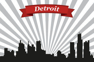 Detroit city skyline with rays background and ribbon