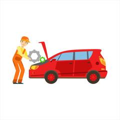 Smiling Mechanic Repairing The Engine In The Garage, Car Repair Workshop Service Illustration