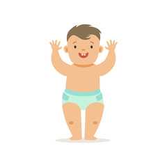 Boy Standing WIth Hands Up,, Adorable Smiling Baby Cartoon Character Every Day Situation