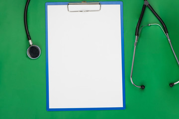 Empty blank on the medical table green