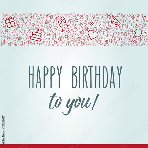 elegante und moderne Geburtstagskarte mit Happy Birthday und Icons