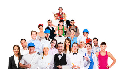 Group of employee people. Business team isolated on white backgr