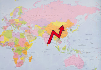 Spoed Foto op Canvas Wereldkaart GDP growth of China's economy