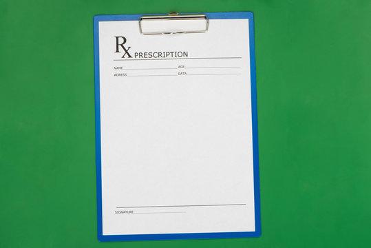 Blank prescription form on desktop background