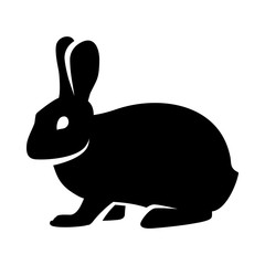 Silhouette of a fluffy rabbit or hare logo